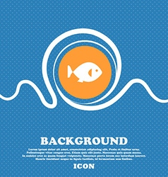 fish icon sign Blue and white abstract background vector image