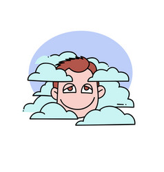 head in clouds vector image