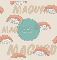Maguro sushi seamless pattern vector