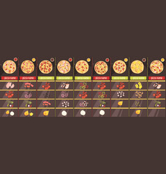 pizza cartoon style menu template vector image