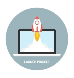 Rocket launch from the laptop vector image