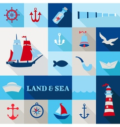 Set of Nautical Vintage Elements vector image vector image