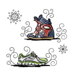 Sneakers sketch for your design vector image