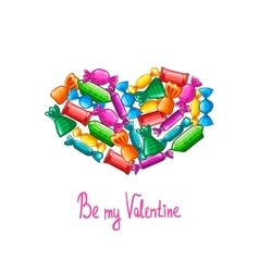 Valentine greeting card with candy vector image