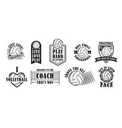 volleyball logo set vector image vector image