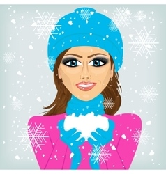 woman holding snow vector image