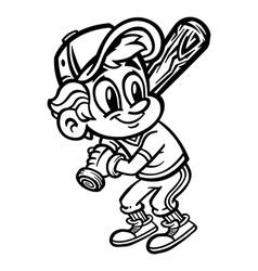 Baseball cartoon kid vector image