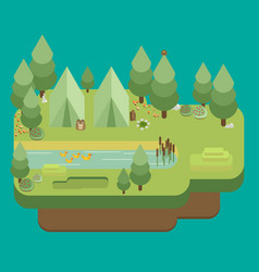 Hiking and camping summer landscapes flat design vector