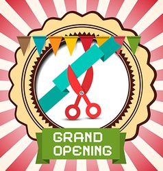 Retro Grand Opening Card with Flags - Label and vector image