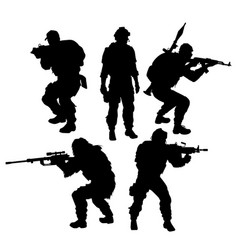 silhouettes of soldiers set vector image vector image