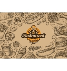 template design menu restaurant or diner hand vector image vector image