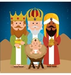 three wise kings baby jesus manger vector image