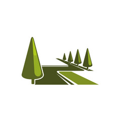 Green forest park trees eco icon vector