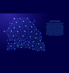map of senegal from polygonal blue lines vector image vector image