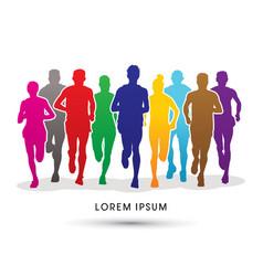 marathon runners vector image