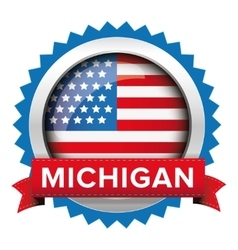 Michigan and usa flag badge vector