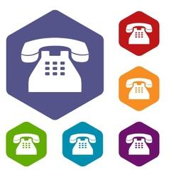 Telephone rhombus icons vector image