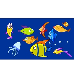 cartoon aquarium with funny fish vector image