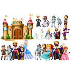 fairytale characters and castle building vector image