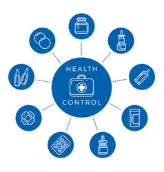 health control linear icons concept vector image