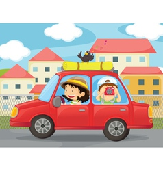 kids and a car vector image vector image