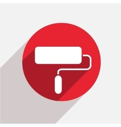 modern paint roller red circle icon vector image