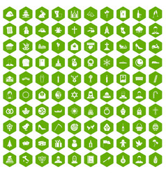 100 church icons hexagon green vector