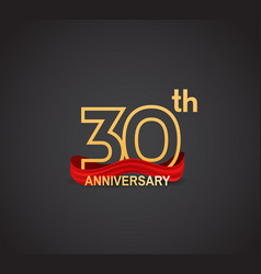 30 anniversary logotype design with line golden vector