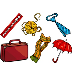 accessories objects cartoon set vector image