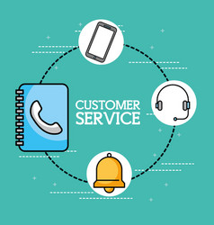 address book headset phone customer service vector image