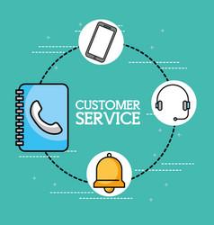 address book headset phone customer service vector image