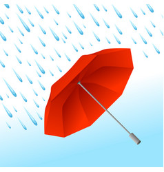 background with umbrella and rain vector image