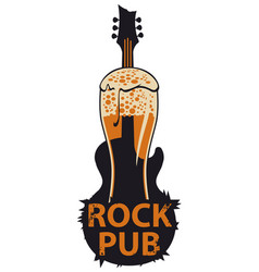 Banner for rock pub with glass of beer and guitar vector