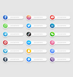 Banners popular social media lower third icons vector