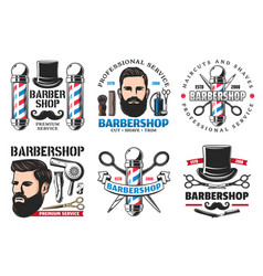 Barber shop signs icons hipster and cutting tools vector
