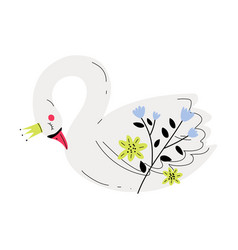 Beautiful white sleeping swan princess with golden vector