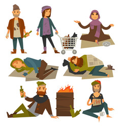 Beggars and bum or vagrant homeless people vector