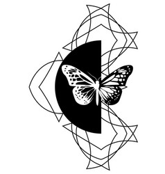 Black and white geometric tattoo with butterfly vector