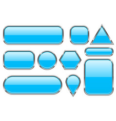 Blue glass buttons with chrome frame colored set vector