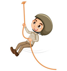Boy in safari outfit climbing on isolated vector