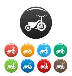 boy tricycle icons set color vector image