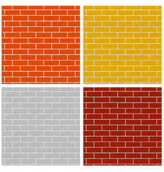 bricks wall set of colored seamless patterns vector image