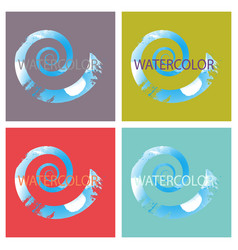 Bright rainbow colors watercolor painted logo vector
