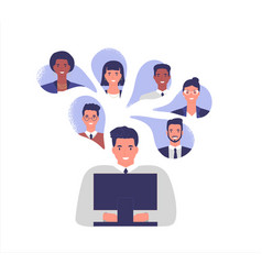 Business people team work online from home vector