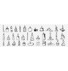 candles hand drawn doodle set vector image