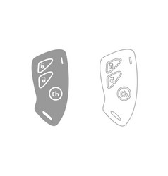 Car key and of the alarm system grey set icon vector