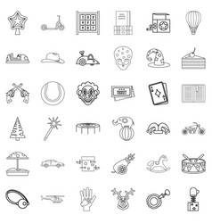 children icons set outline style vector image
