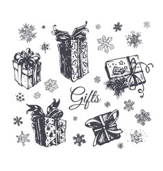 christmas gift box hand drawn icons set vector image