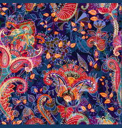 Colorful floral seamless pattern paisley ornament vector