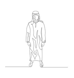 Continuous one line man in arabic clothing vector